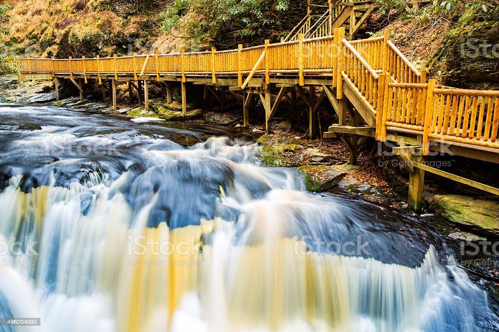 Waterfall on Little Bushkill creek stock photo