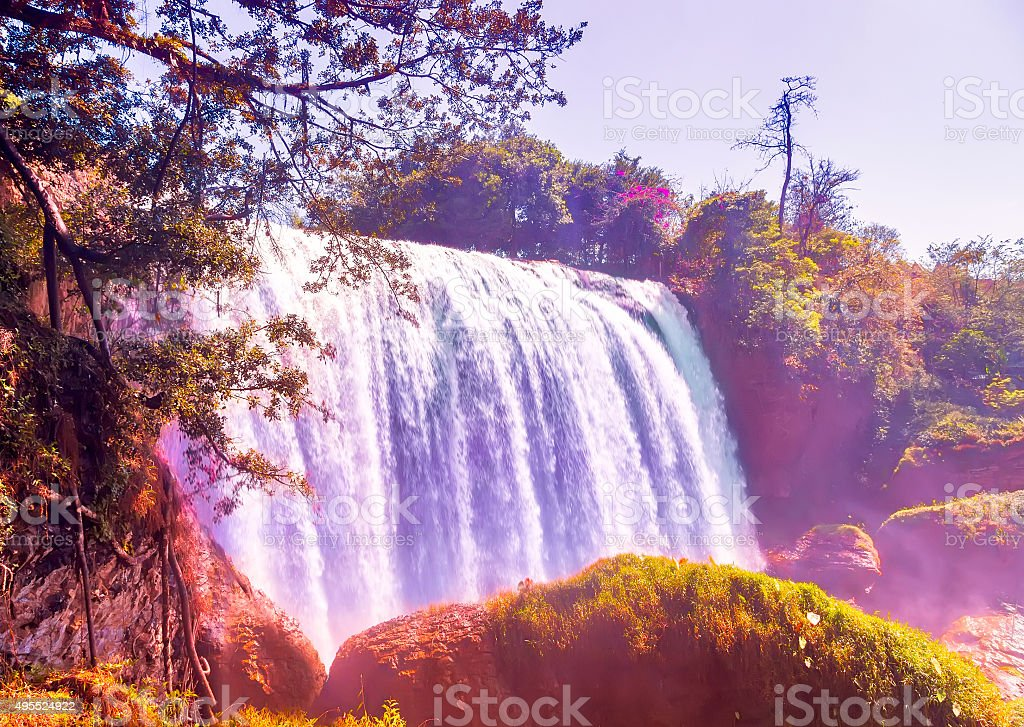 waterfall on mountain landscapes stock photo