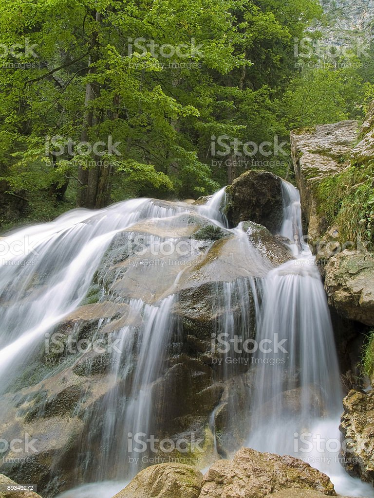 Waterfall on Mountain River royalty-free stock photo