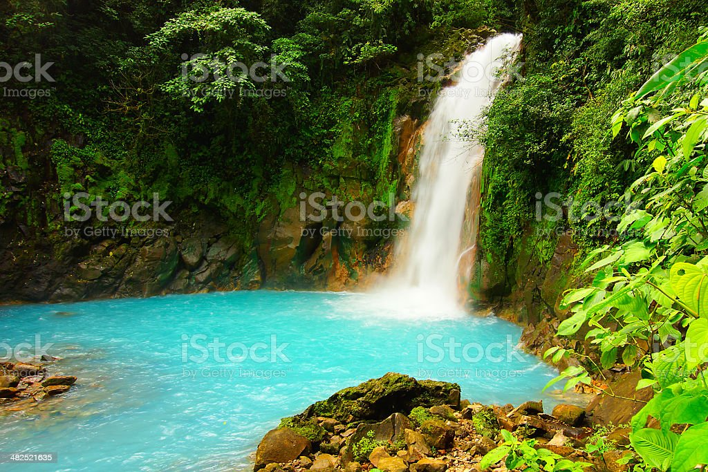 Waterfall on RIo Celeste in Costa Rica stock photo