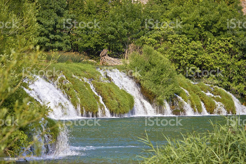 Waterfall on river of Krupa stock photo