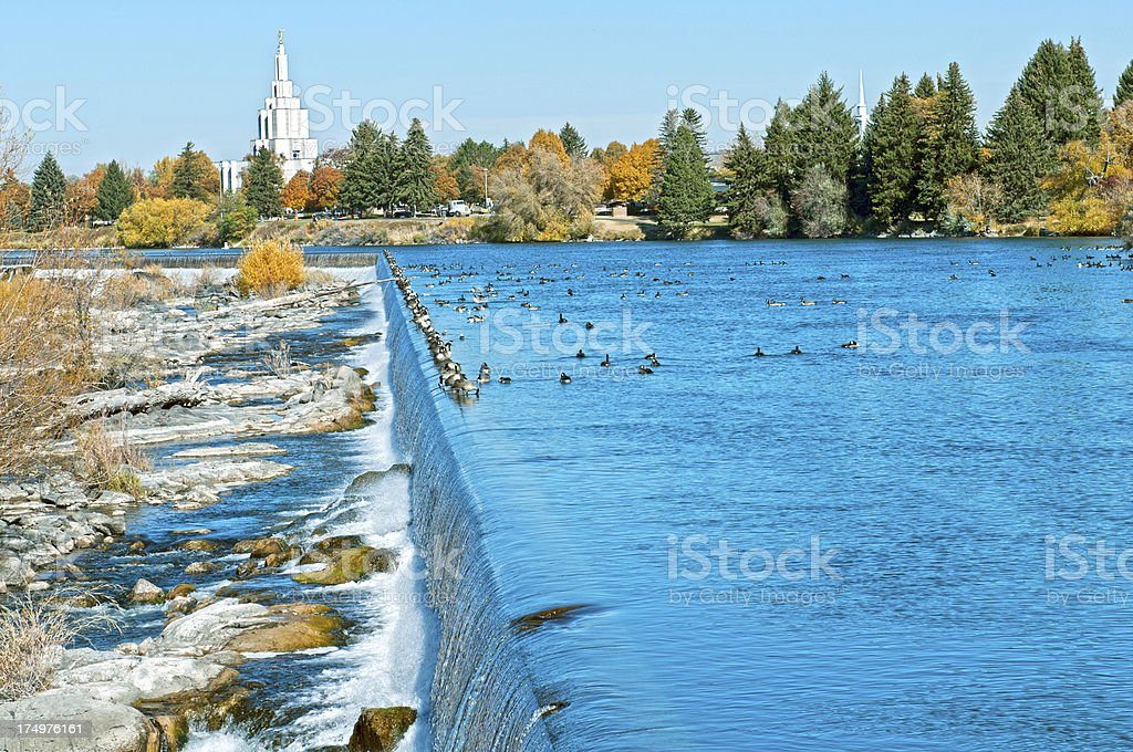 Waterfall on Snake River in Idaho Falls ID royalty-free stock photo