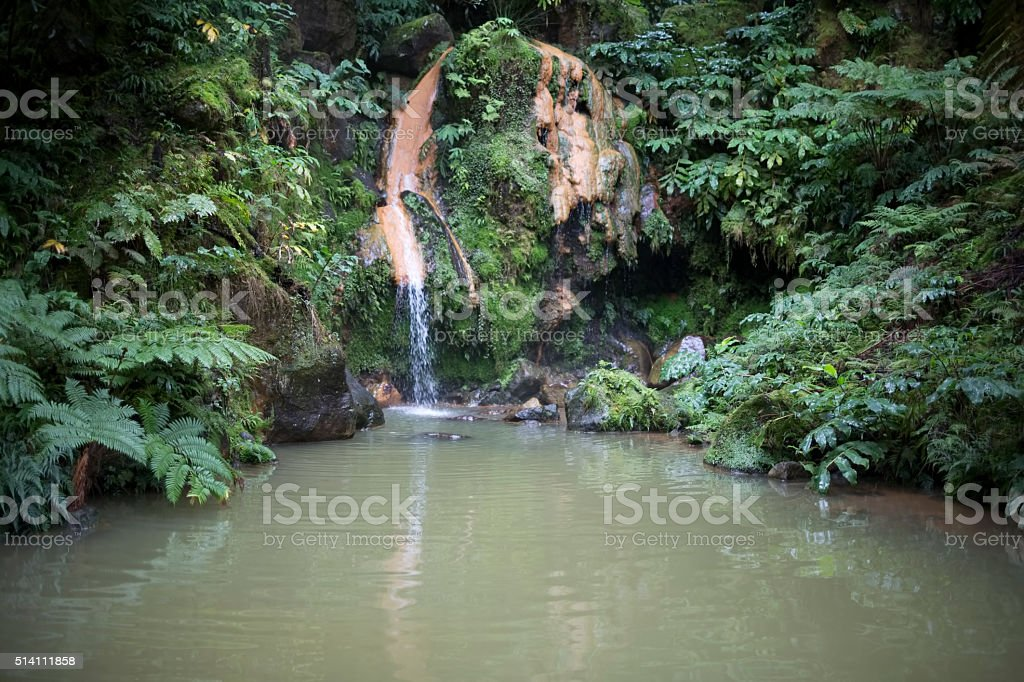 Waterfall on the island of Sant Miquel, Azores stock photo
