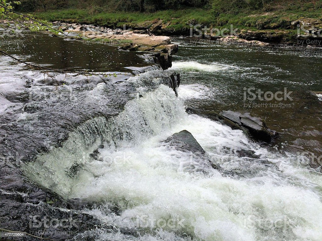 Waterfall on the River Usk stock photo