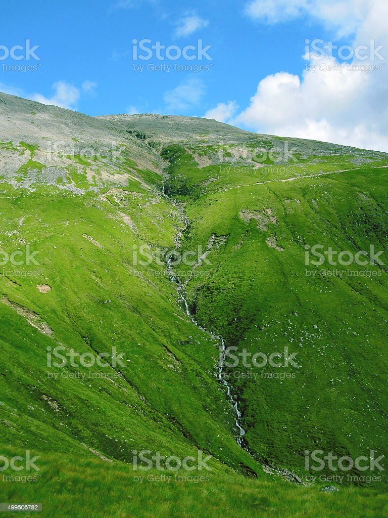 Waterfall on the way to Ben Nevis mountain in Scotland stock photo