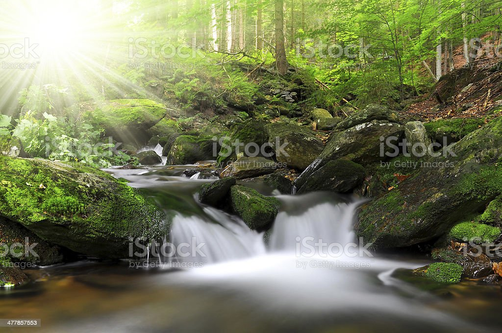 Waterfall on the White creek royalty-free stock photo