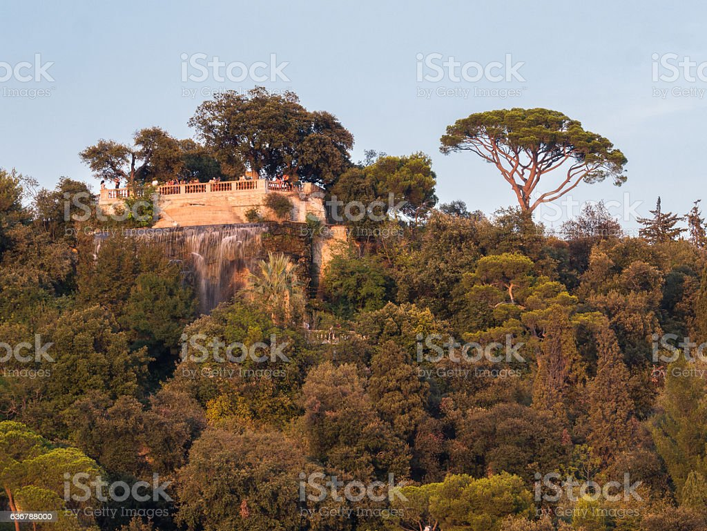 Waterfall on top of the Hill - France, Nice stock photo