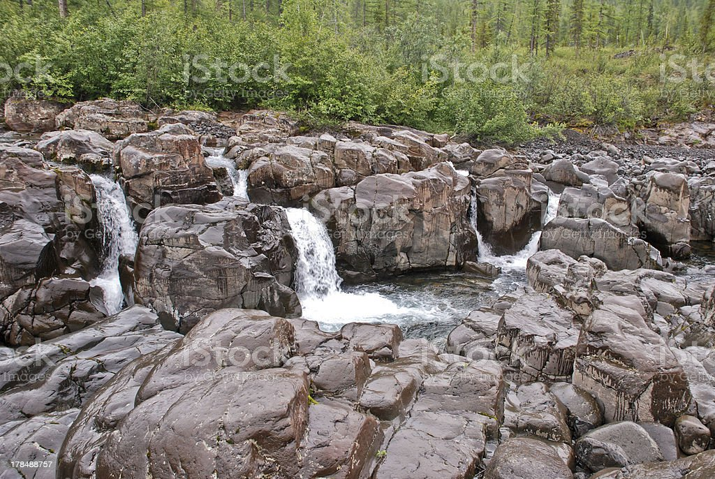 "Waterfall ""Six jets"" on the river. royalty-free stock photo"