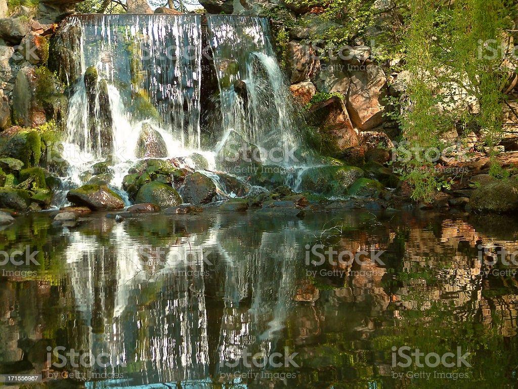 Waterfall reflection stock photo