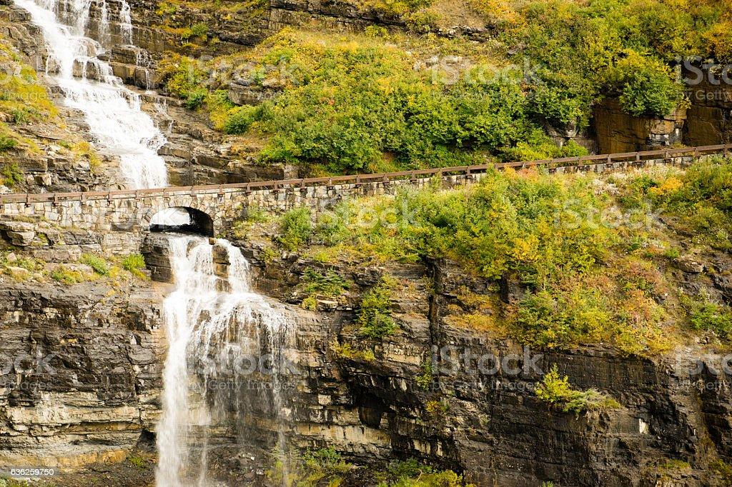 Waterfall Road Glacier National Park Montana Shale Glacier Melt stock photo