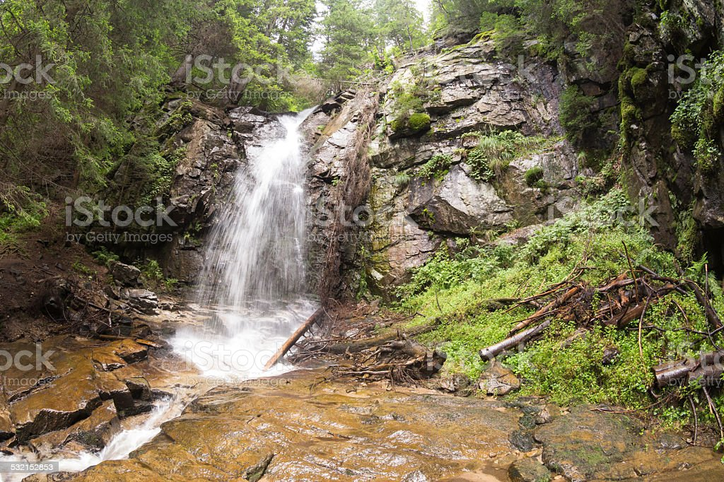 Waterfall Saint Spirit and Spring in Rhodopes Mountain stock photo