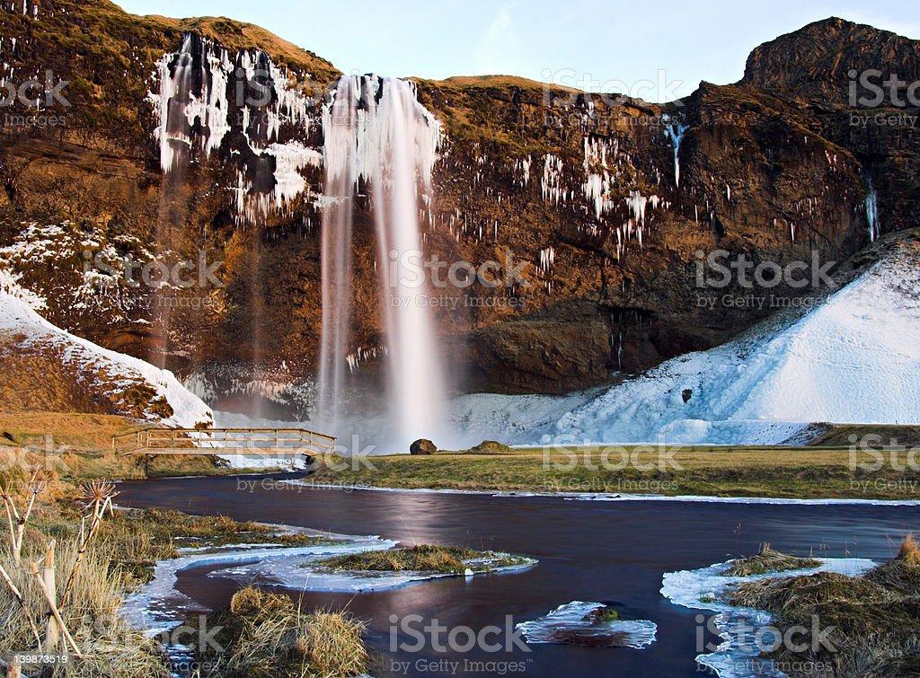 Waterfall Seljalandsfoss in Iceland stock photo