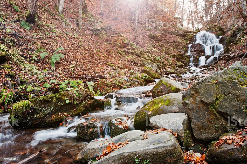 Waterfall Shypit on Borzhava, Pylypets village on Carpathian mou stock photo