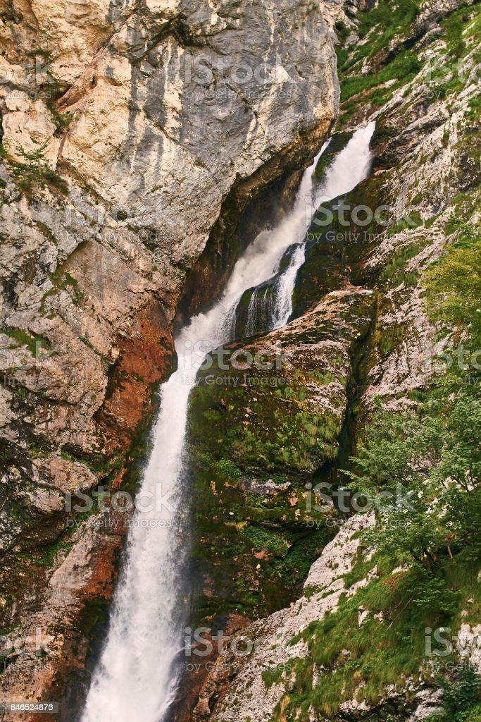 Waterfall Slap Savica in Triglav national park near lake Bohinj, Slovenia stock photo