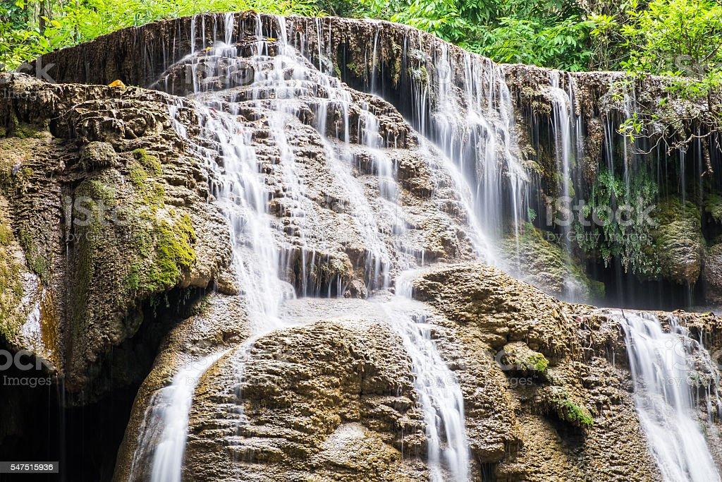 Waterfall soft scenic natural at huai mae khamin stock photo
