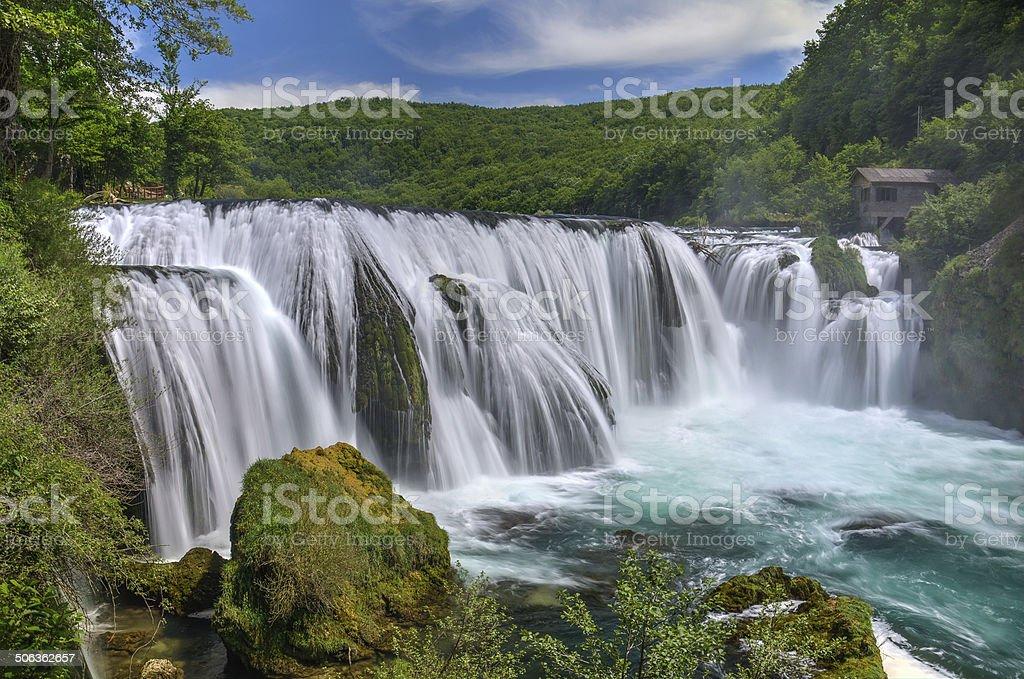 Waterfall Strbacki Buk on Una river stock photo