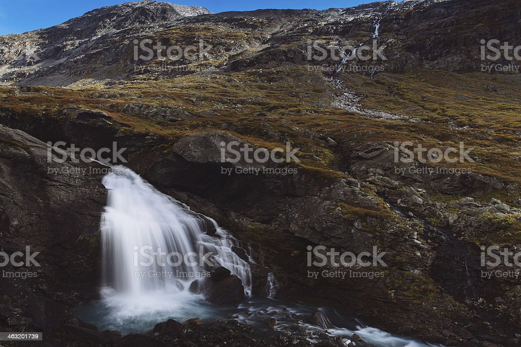 Waterfall - Strynefjell Mountain Road, Norway stock photo