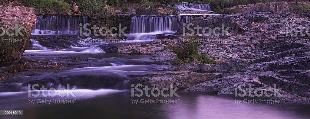 Waterfall sunset panorama stock photo