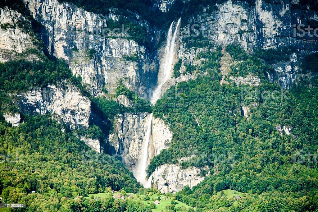 Waterfall Switzerland Lake Walensee stock photo