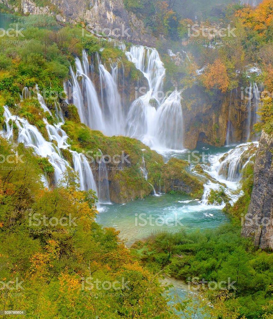 Waterfall the Plitvice Lakes stock photo