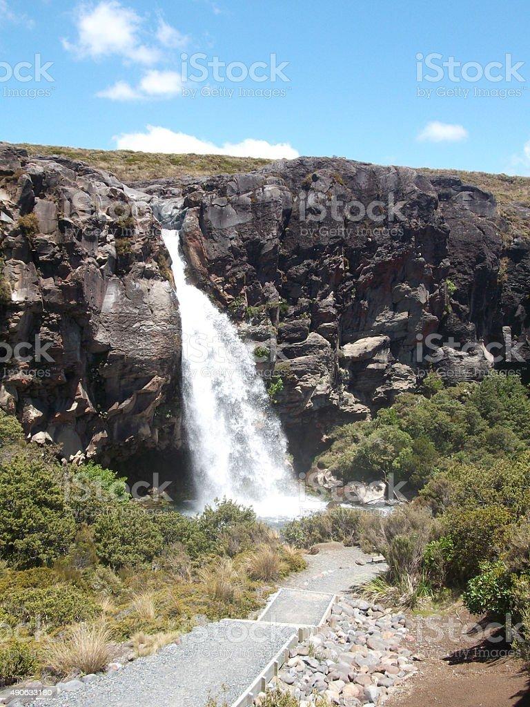waterfall, tongariro crossing stock photo