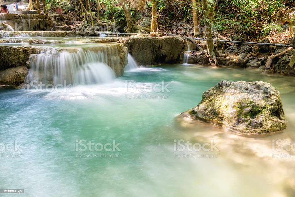 Waterfall tropical rain forest scenic natural stock photo