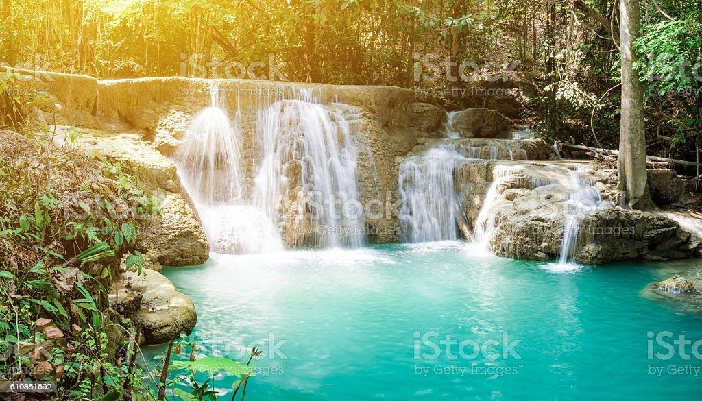 Waterfall tropical rain forest scenic sunlight stock photo