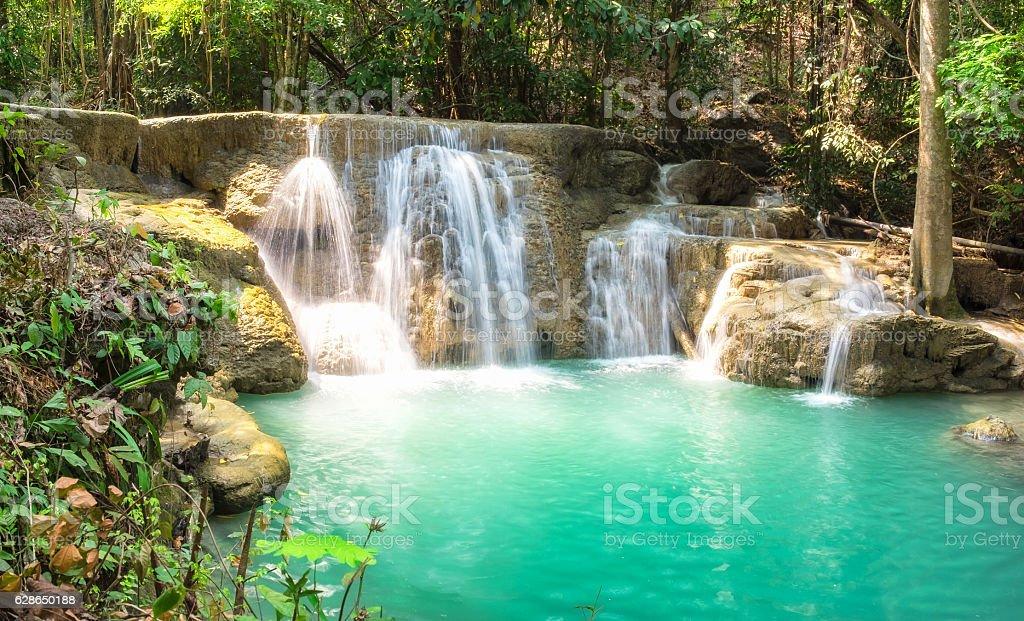 Waterfall tropical rainforest scenic stock photo
