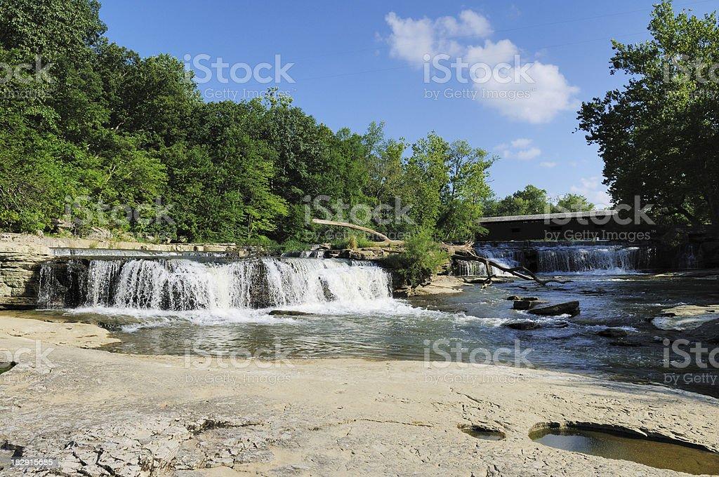 Waterfall Upper Cataract Falls State Park Central Indiana Landmark stock photo