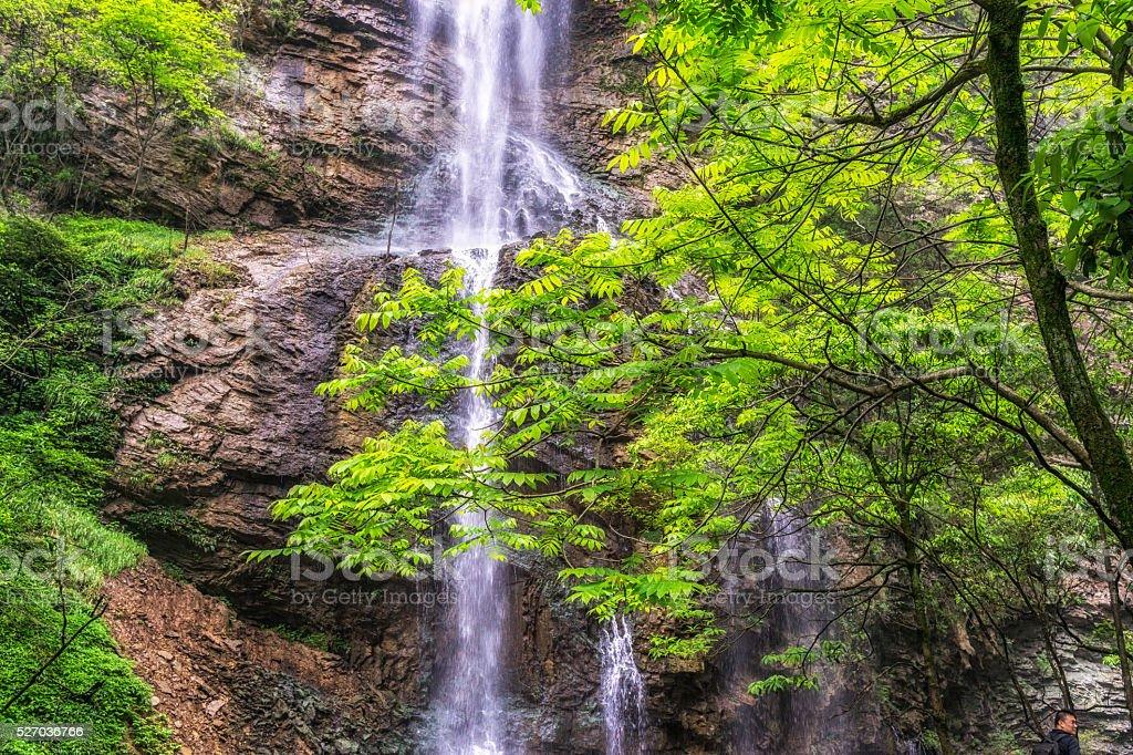 waterfall view in zhangjiajie grand canyon stock photo