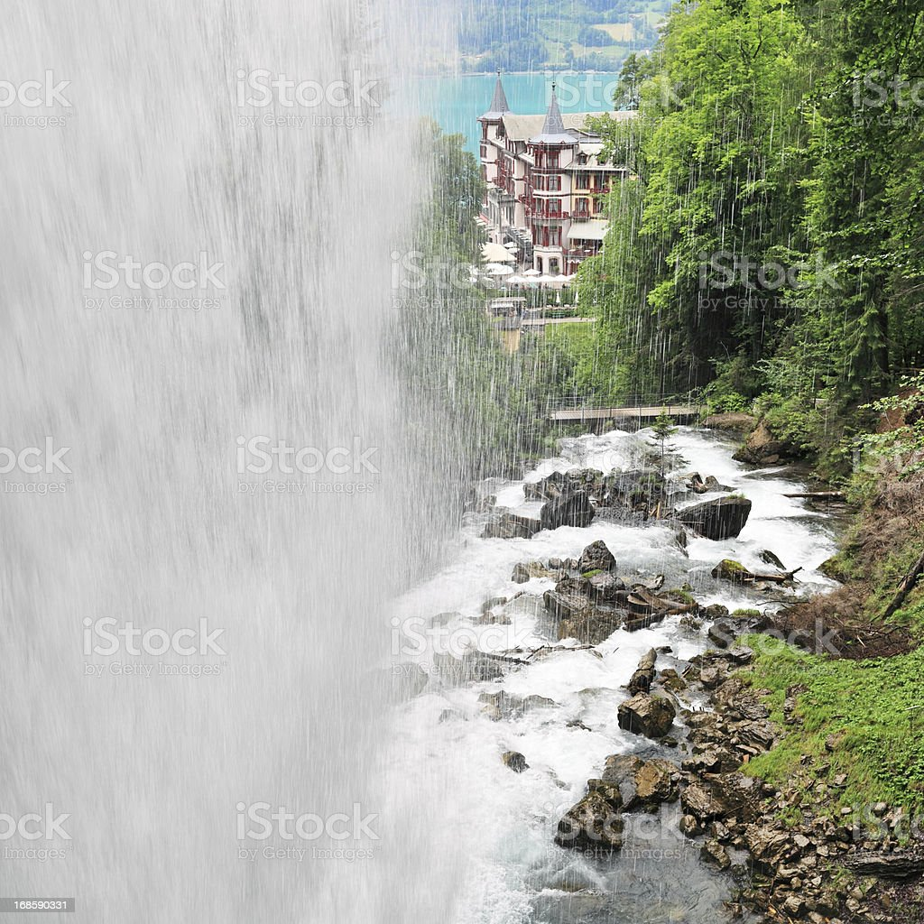 Waterfall view, Switzerland stock photo