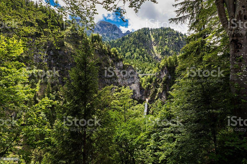 Waterfall viewed from the Neuschwanstein Castle stock photo