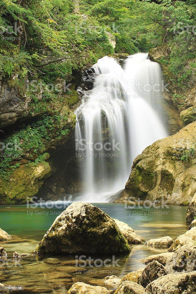 Waterfall, Vintgar Canyon, Slovenia royalty-free stock photo