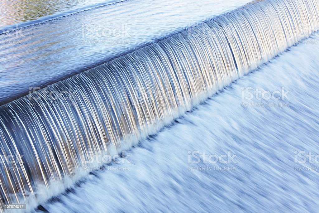 Waterfall Water Over Dam from Tranquil Calm to Rushing Blur stock photo