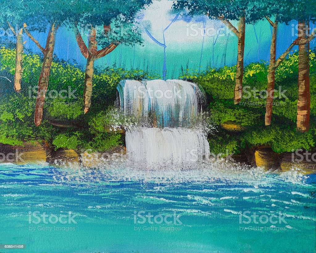 waterfall watercolor painting stock photo