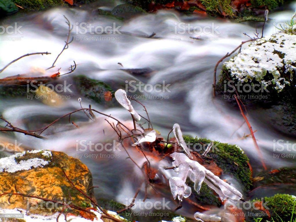 waterfall - winter stream royalty-free stock photo