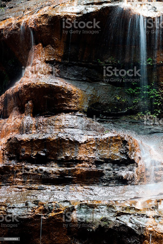 Waterfall Witches leap Blue Mountains, rock formation of human face stock photo
