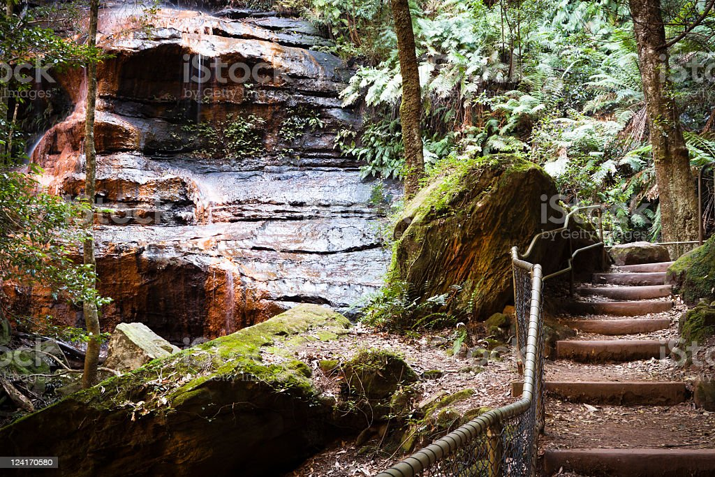 Waterfall 'Witches leap' with rock formation of human face royalty-free stock photo