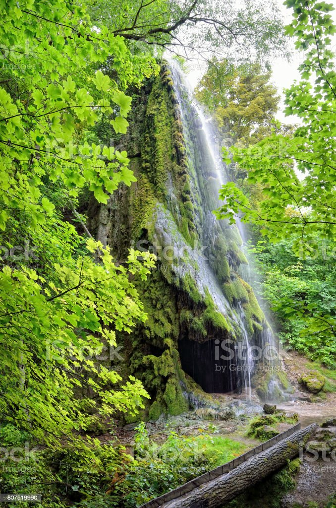Waterfall with a cave among a green garden stock photo