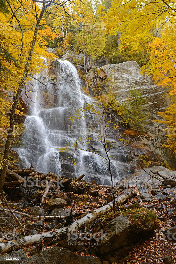 Waterfall with Autumn foliage, Adirondacks, New York stock photo