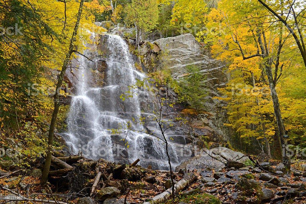 Waterfall with Autumn foliage, Adirondacks, New York stock photo