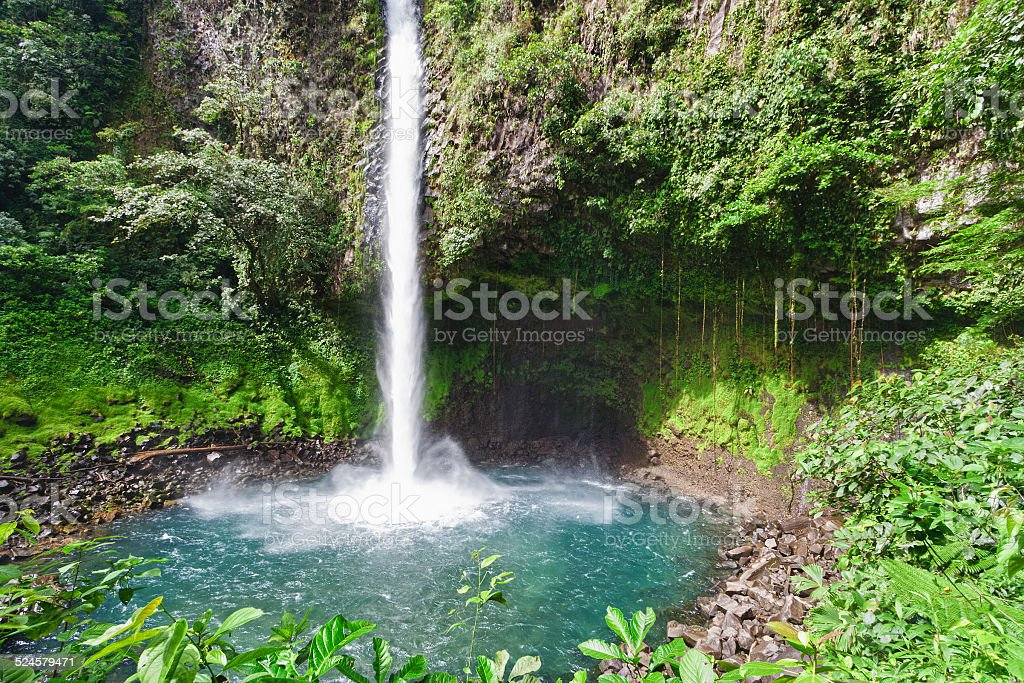 Waterfall with emerald pool in rainforest stock photo