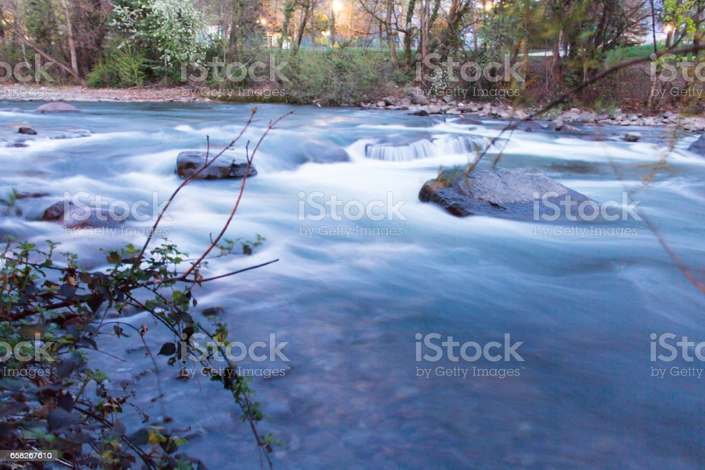 Waterfall with long exposure stock photo