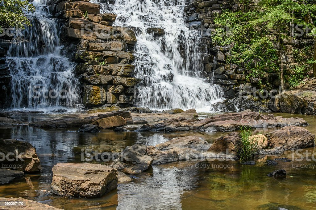 Waterfall with reflection stock photo