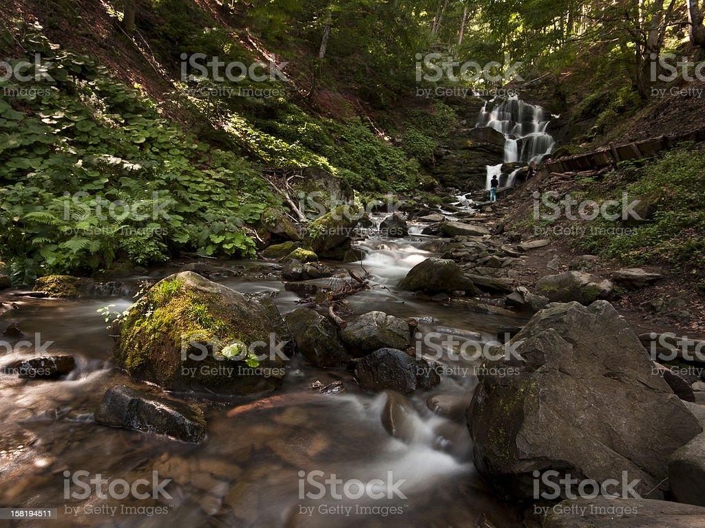Waterfall with rocks in the forest stock photo