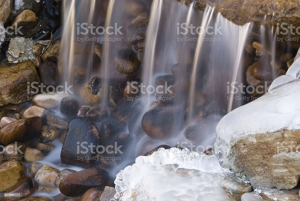 Waterfall with Snow and Ice stock photo