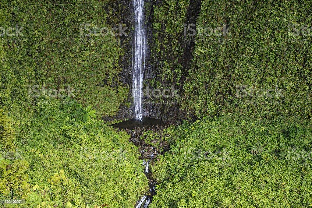 Waterfalls along Na Pali Coastline, Kauai in the Hawaian Islands stock photo