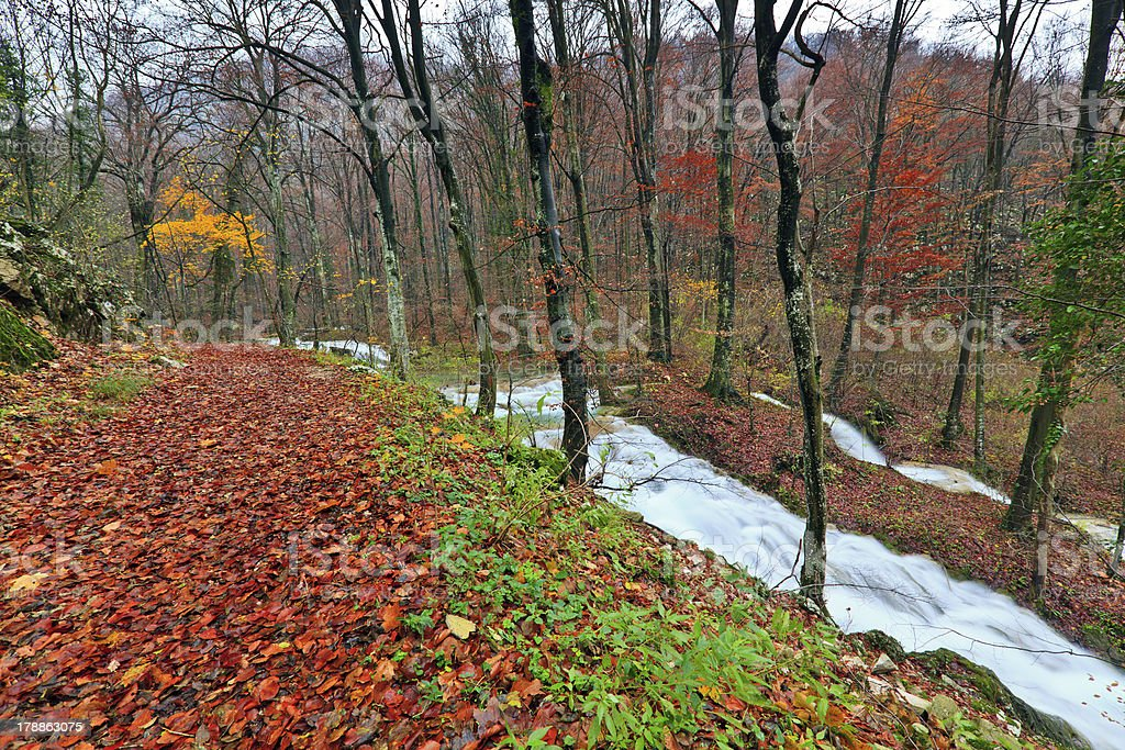 Waterfalls and mountain stream in autumn royalty-free stock photo