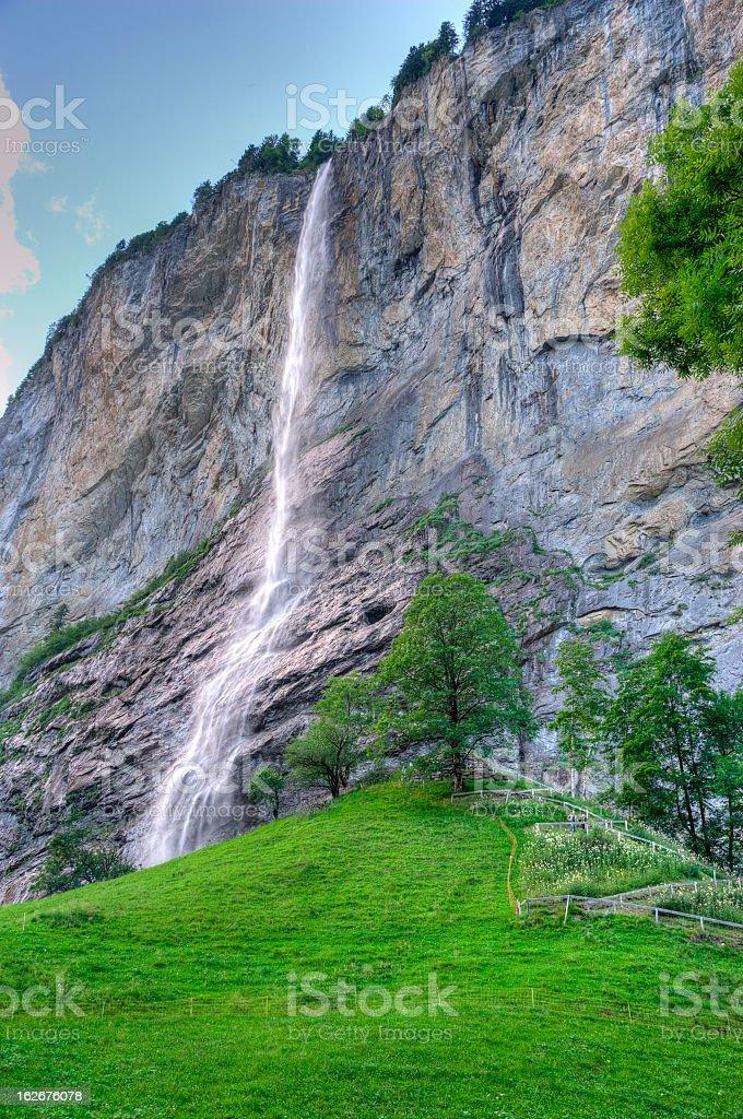 Waterfalls at Lauterbrunnen, Switzerland stock photo