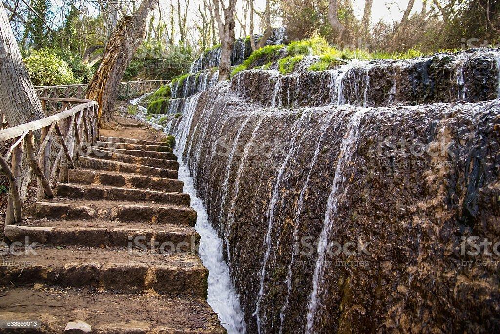 Waterfalls at Monasterio de Piedra, Zaragoza, Aragon, Spain stock photo